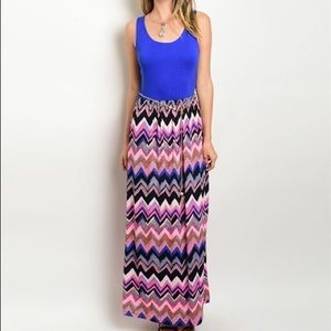 Maxi Dress Solid Zigzag combination